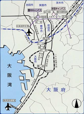 大阪大学吹田キャンパスまでの路線図